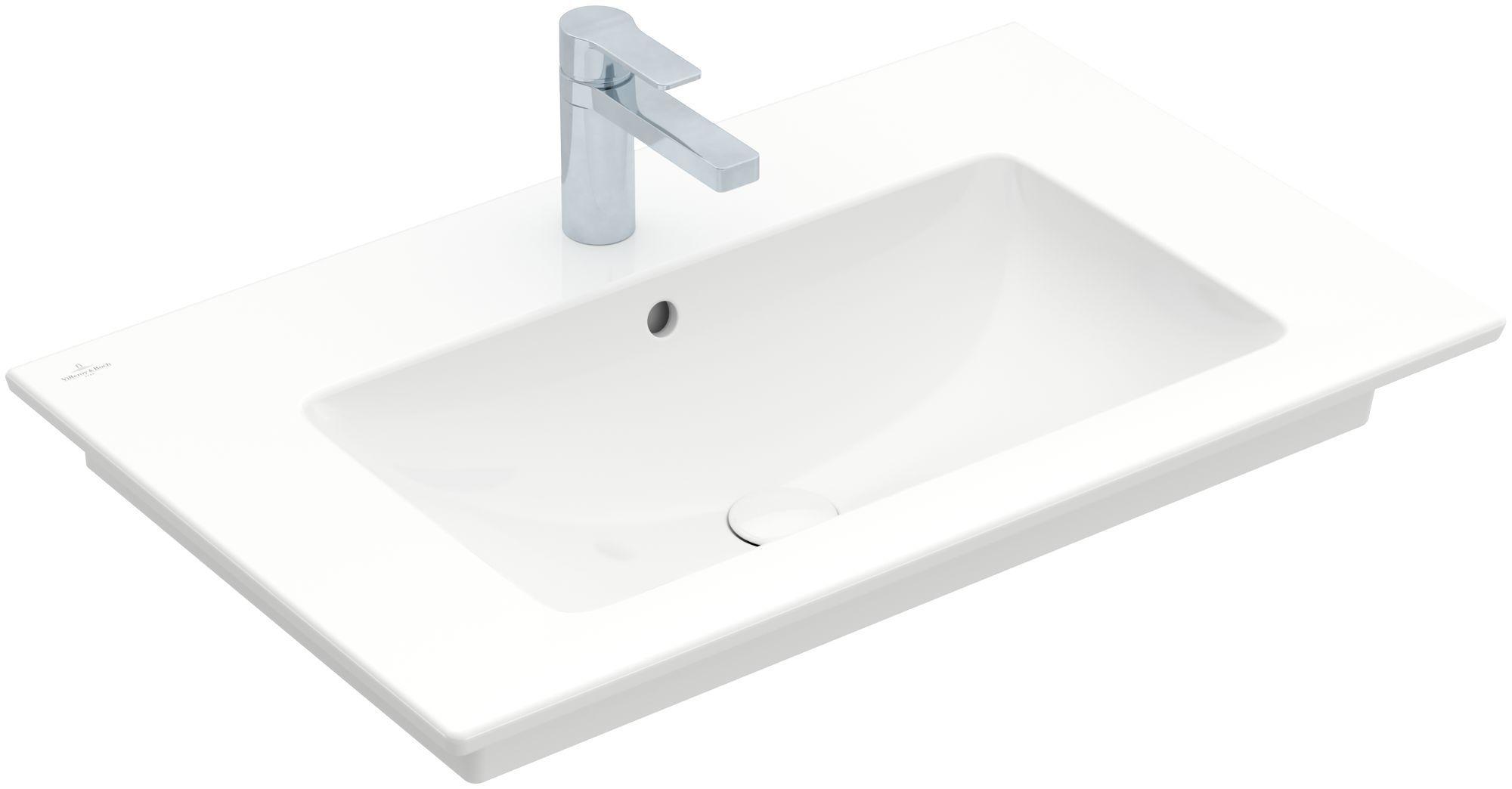 Villeroy & Boch Venticello Möbelwaschtisch B:80xT:50cm 1 Hahnloch mit Überlauf weiß 41048L01