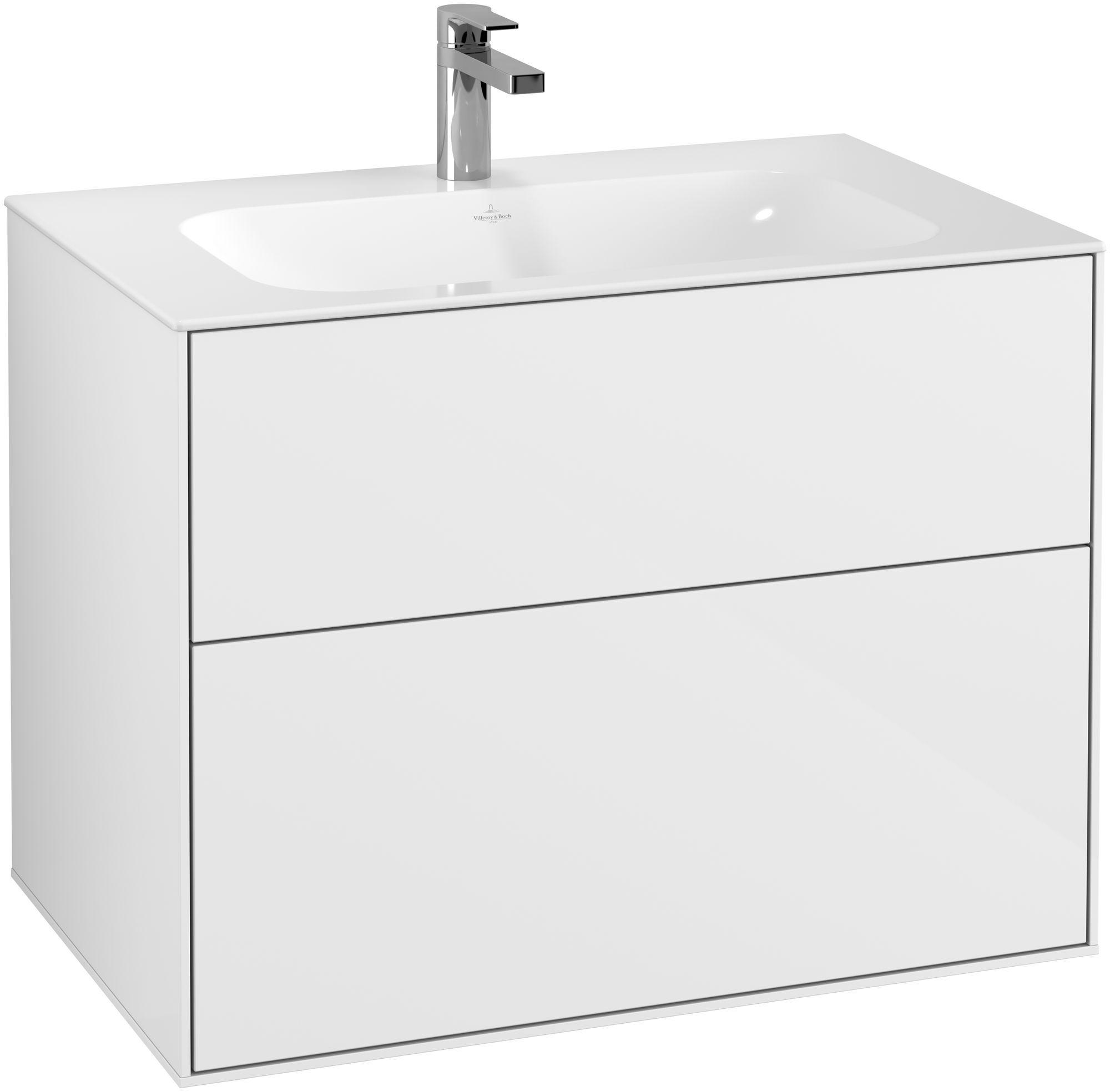 Villeroy & Boch Finion F01 Waschtischunterschrank 2 Auszüge B:79,6xH:59,1xT:49,8cm Front, Korpus: Glossy White Lack F01000GF