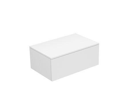 Keuco Edition 400 Sideboard wandhängend 1 Frontauszug 700 x 289 x 450 mm weiß hochglanz/Glas anthrazit klar 31741800001