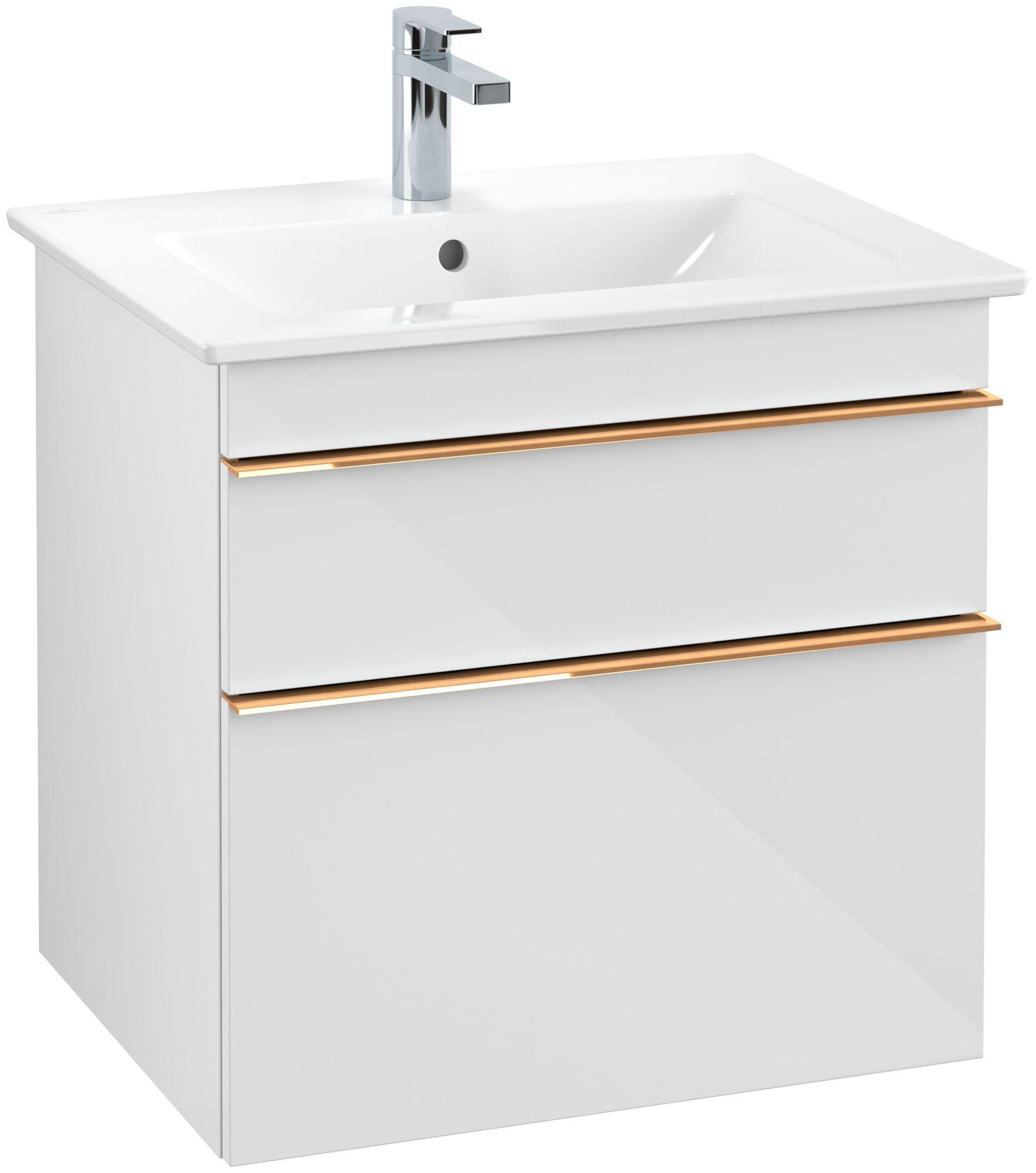 Villeroy & Boch Venticello Waschtischunterschrank 2 Auszüge B:60,3xH:59xT:50,2cm glossy white Griffe copper A92405DH