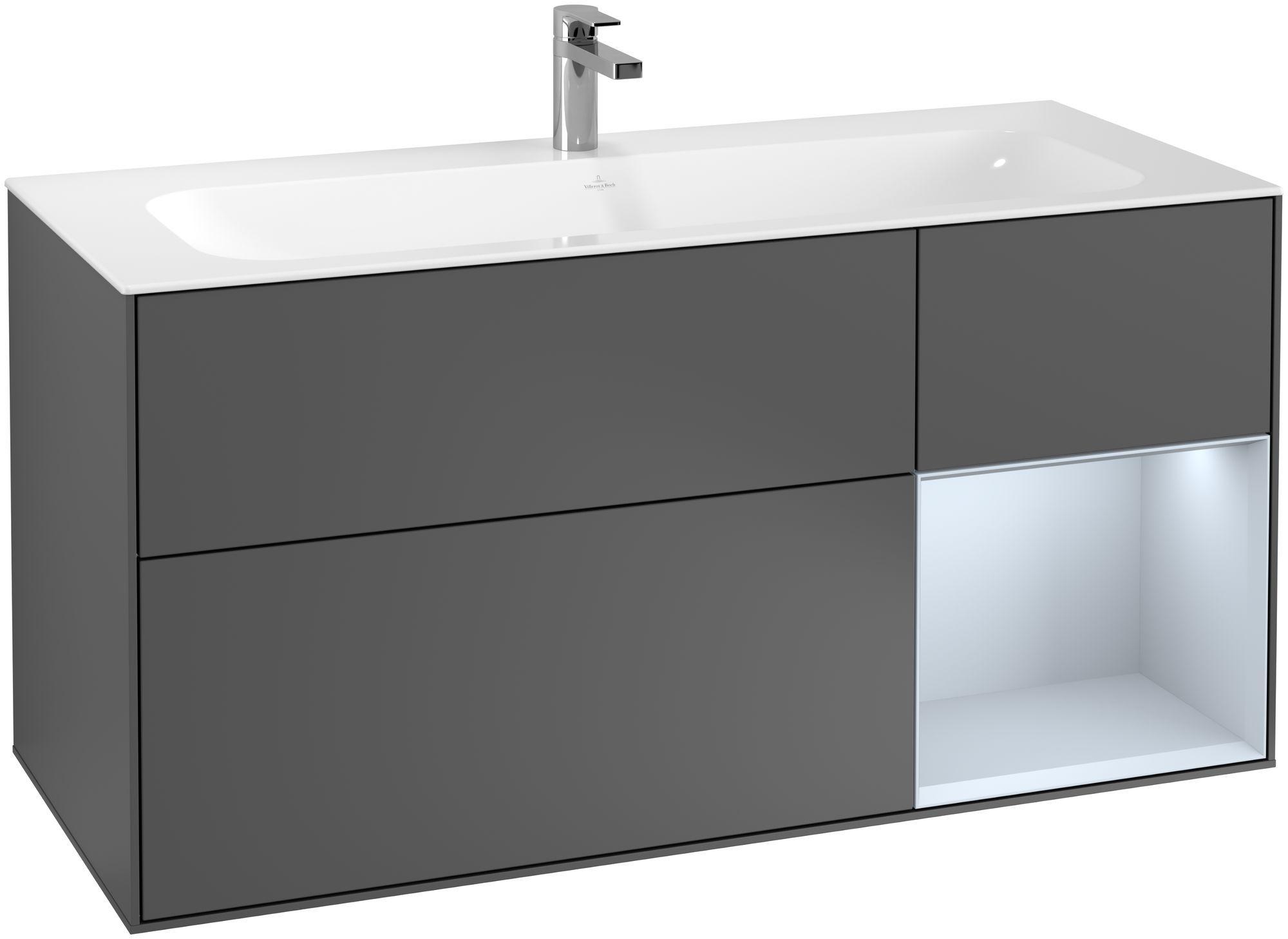 Villeroy & Boch Finion F07 Waschtischunterschrank mit Regalelement 3 Auszüge LED-Beleuchtung B:119,6xH:59,1xT:49,8cm Front, Korpus: Anthracite Matt, Regal: Cloud F070HAGK