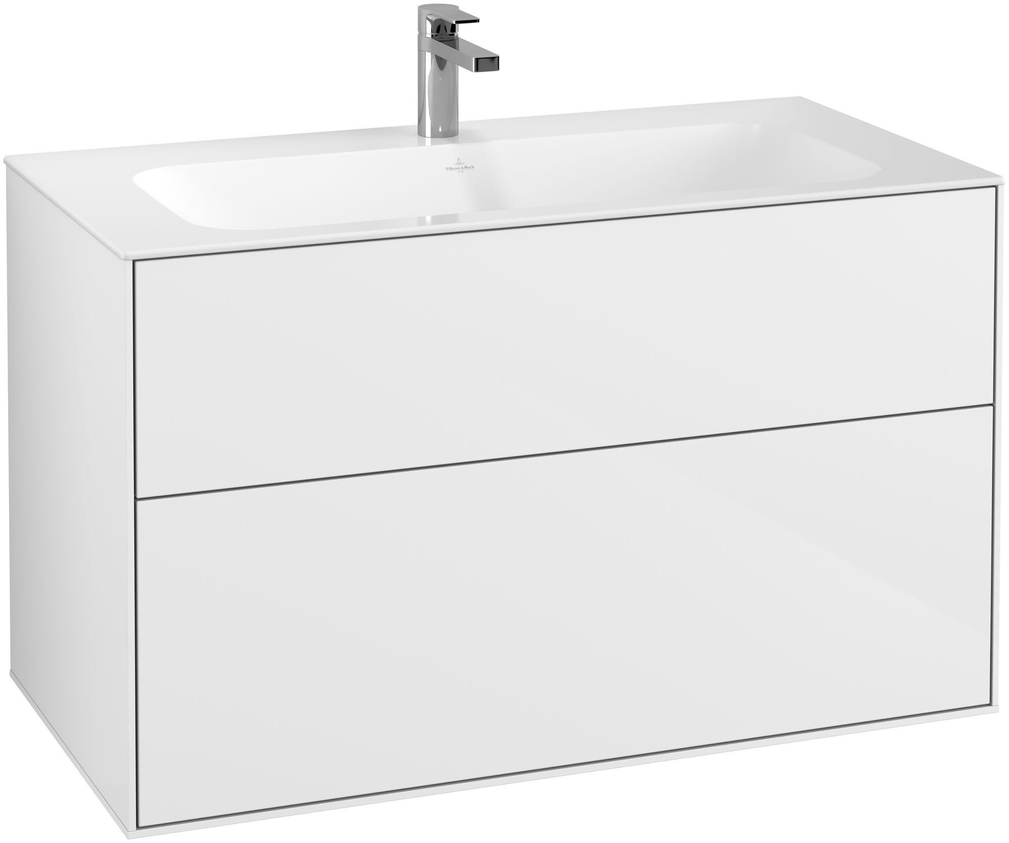 Villeroy & Boch Finion F02 Waschtischunterschrank 2 Auszüge B:99,6xH:59,1xT:49,8cm Front, Korpus: Glossy White Lack F02000GF