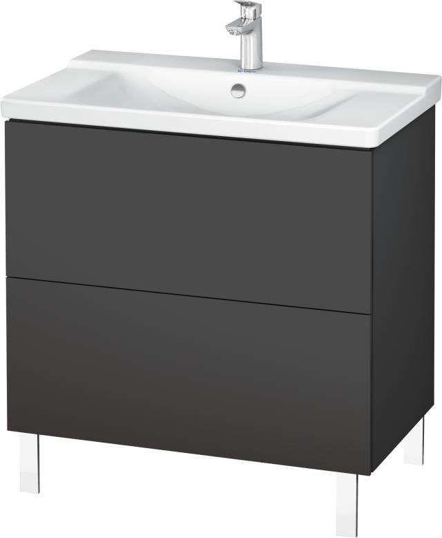 Duravit L-Cube Waschtischunterschrank bodenstehend für 233285 B:82xH:70,9xT:48,1cm 2 Auszüge graphit matt LC660104949