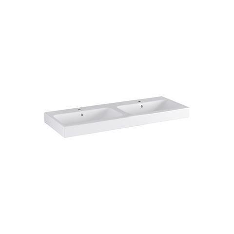 Geberit Keramag iCon Doppelwaschtisch B:120xT:48,5cm 2 Hahnlöcher mit Überlauf weiß mit KeraTect 124120600