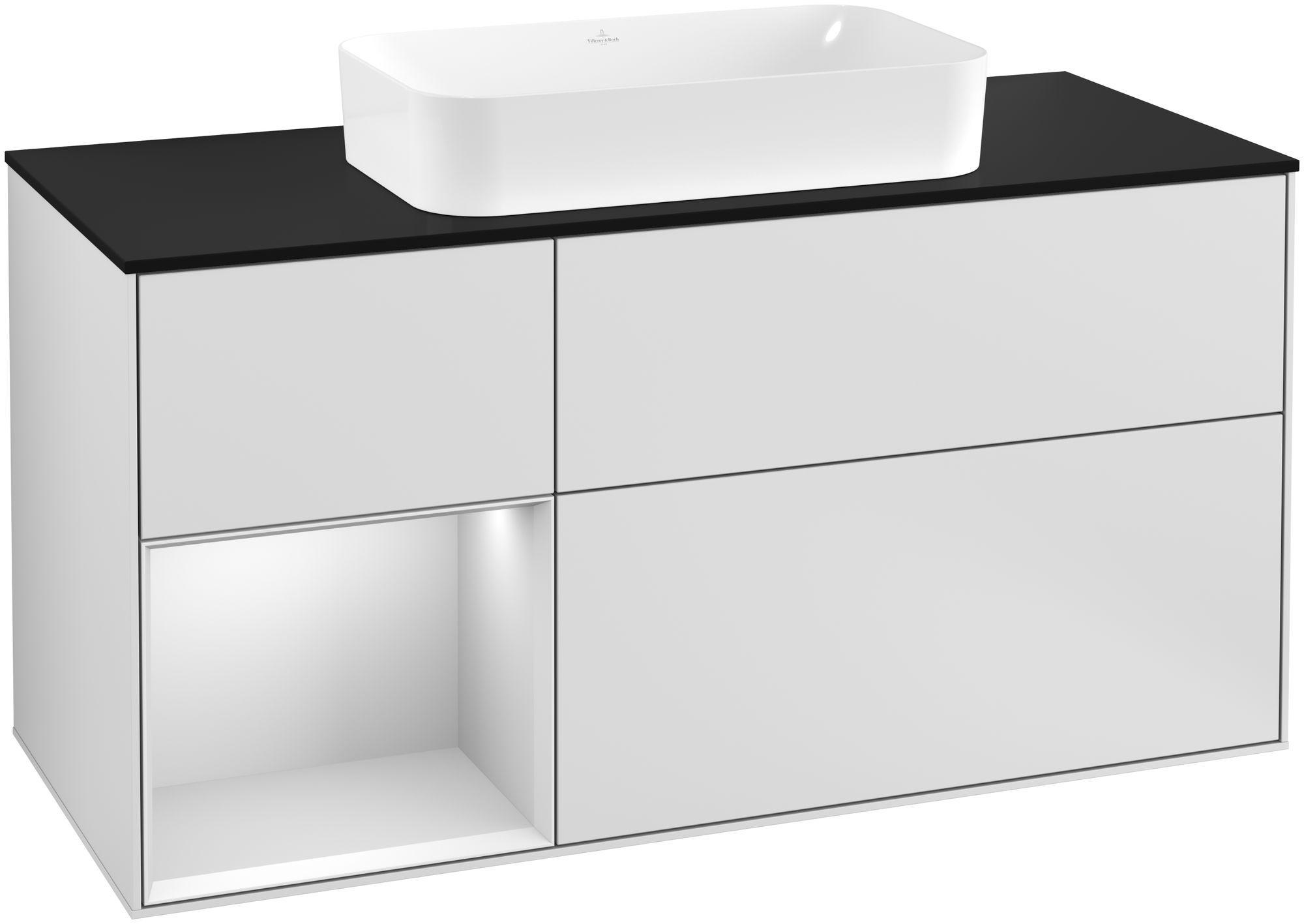Villeroy & Boch Finion G29 Waschtischunterschrank mit Regalelement 3 Auszüge Waschtisch mittig LED-Beleuchtung B:120xH:60,3xT:50,1cm Front, Korpus: Weiß Matt Soft Grey, Glasplatte: Black Matt G292MTMT
