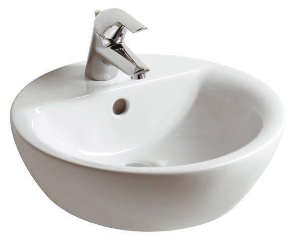 Ideal Standard Contour 21 Schalenwaschtisch rund DM:43xH: 16,5cm 1 Hahnloch mittig mit Überlauf weiß E804001