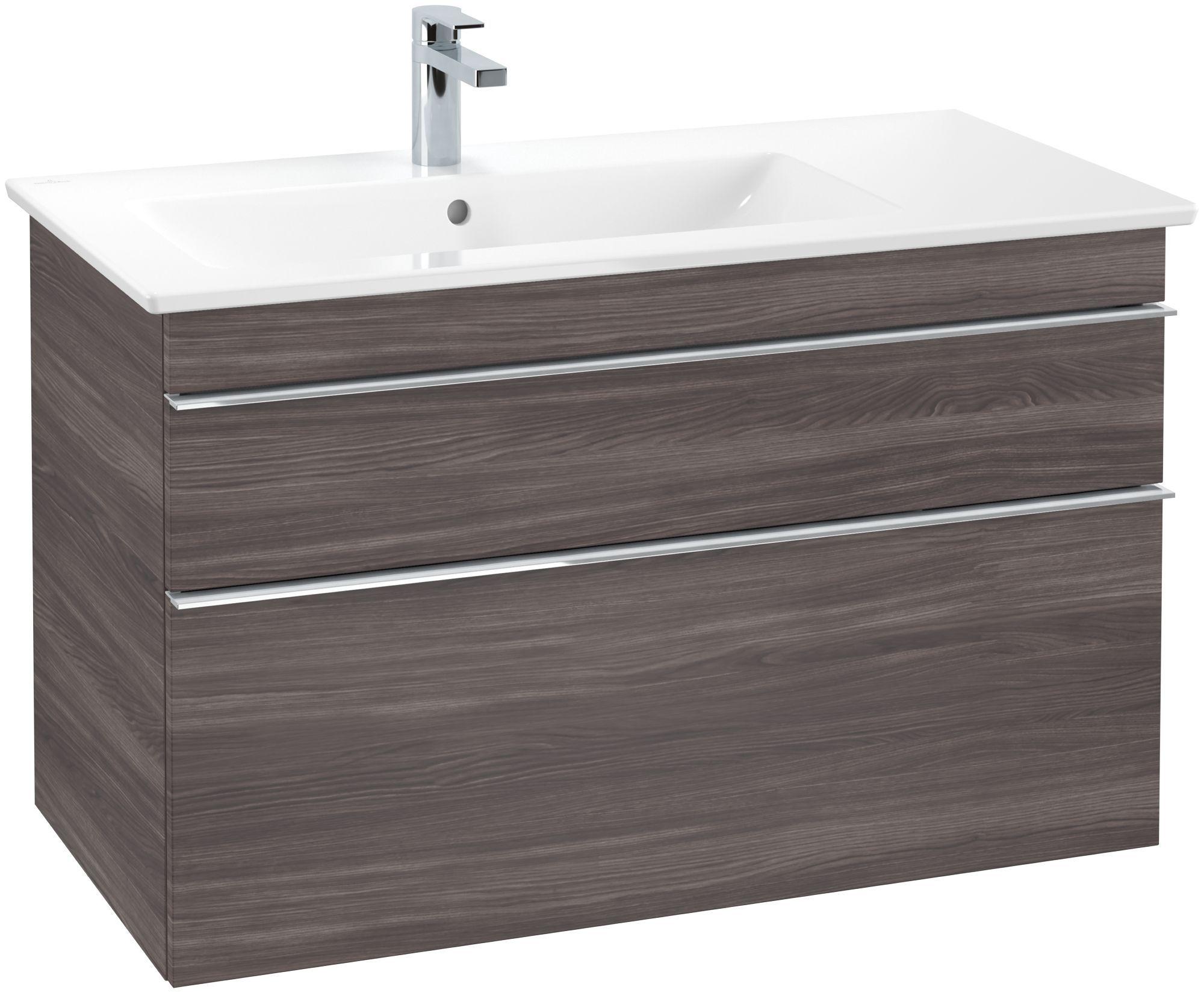 Villeroy & Boch Venticello Waschtischunterschrank 2 Auszüge B:953xT:502xH:590mm eiche graphit Griffe chrom A92701FQ