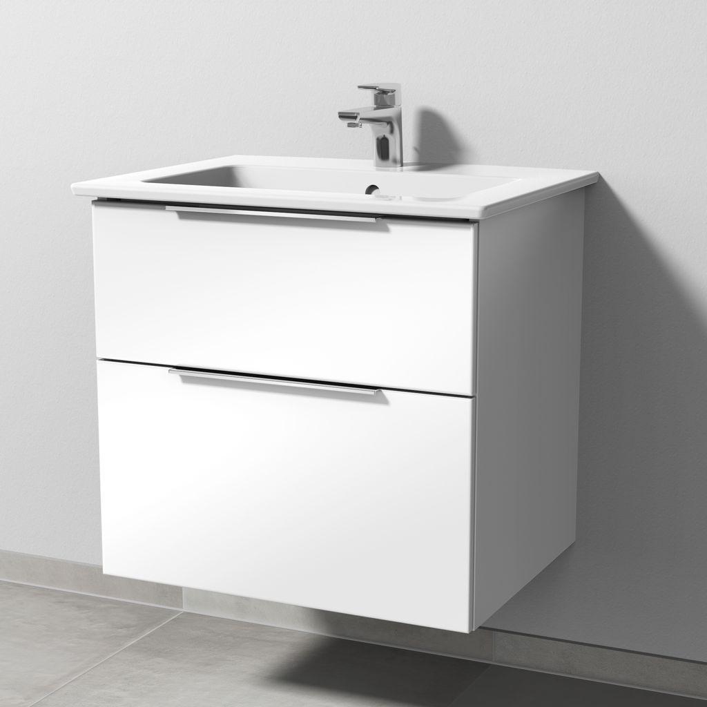 Sanipa 3way Set Keramik-Waschtisch (UF322) H:59,1xB:60,5xL:47,7cm Weiß-Glanz UF32278
