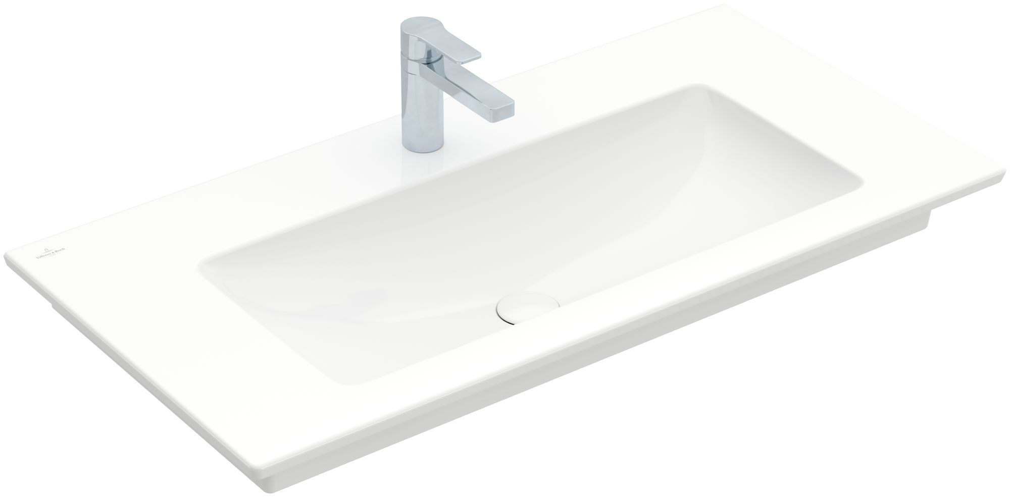 Villeroy & Boch Venticello Möbelwaschtisch B:100xT:50cm 1 Hahnloch ohne Überlauf weiß mit Ceramicplus 4104AHR1