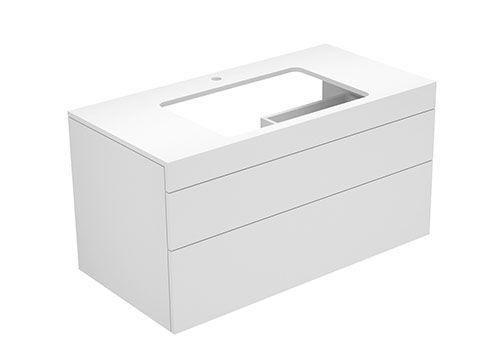 Keuco Edition 400 Waschtischunterbau mit Hahnlochbohrung 2 Auszüge 1050 x 546 x 535 mm titan/titan 31572460100