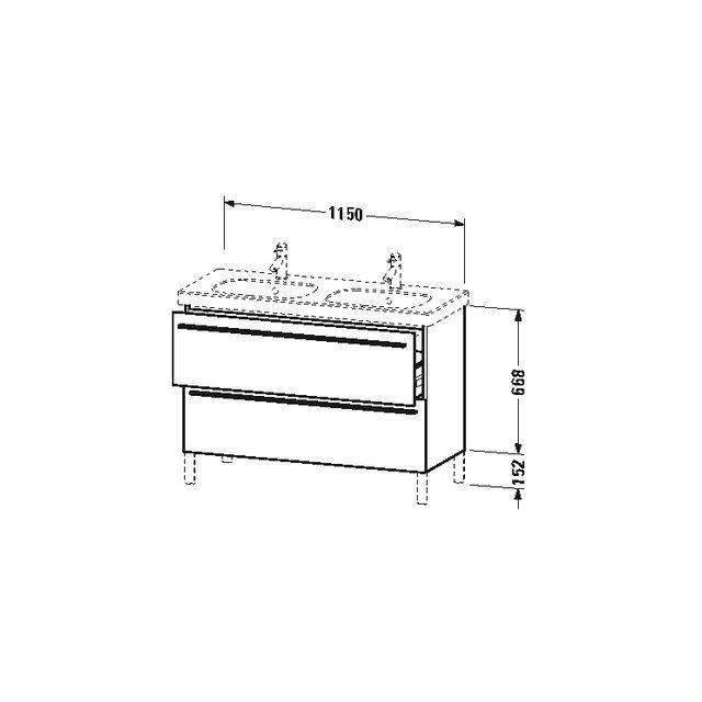 Duravit X-Large Waschtischunterschrank wandhängend B:115xH:66,8xT:47 cm mit 2 Auszügen schwarz hochglanz XL651804040