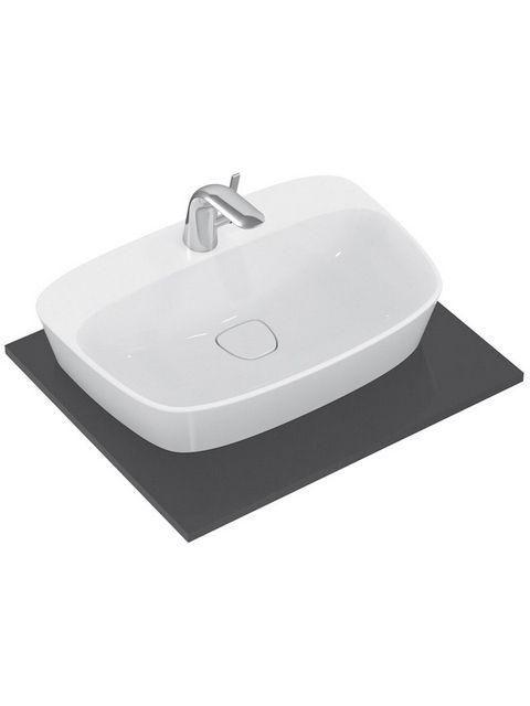 Ideal Standard Dea Schalenwaschtisch B:62,5xT:43xH:15,5cm 1 Hahnloch mittig ohne Überlauf weiß seidenmatt mit IdealPlus T0445MI