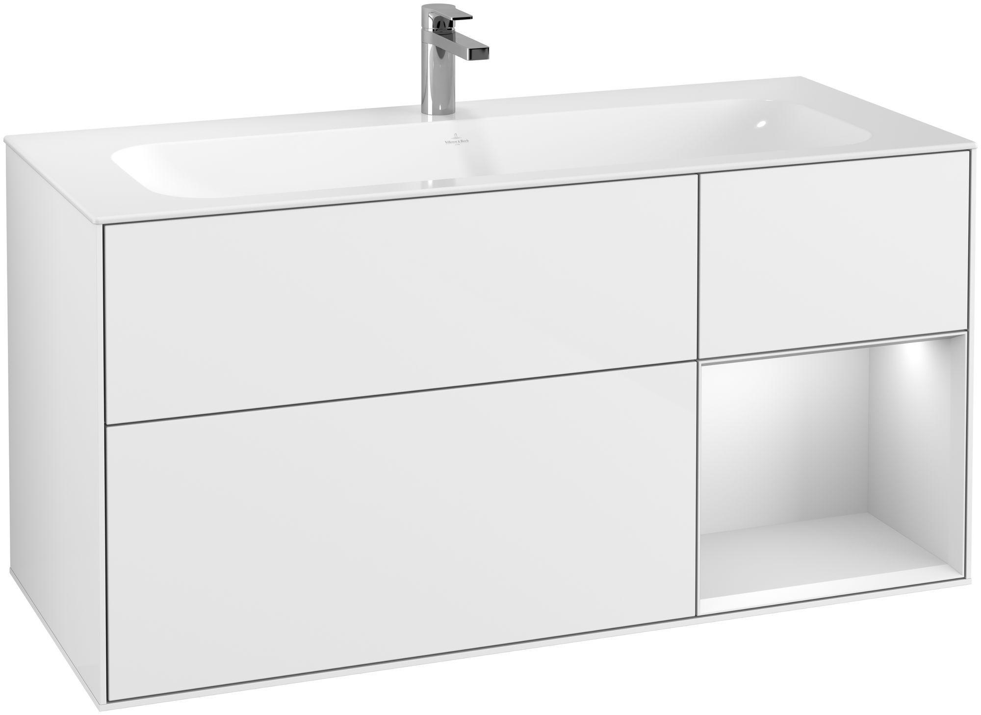 Villeroy & Boch Finion G07 Waschtischunterschrank mit Regalelement 3 Auszüge LED-Beleuchtung B:119,6xH:59,1xT:49,8cm Front, Korpus: Glossy White Lack, Regal: Weiß Matt Soft Grey G070MTGF