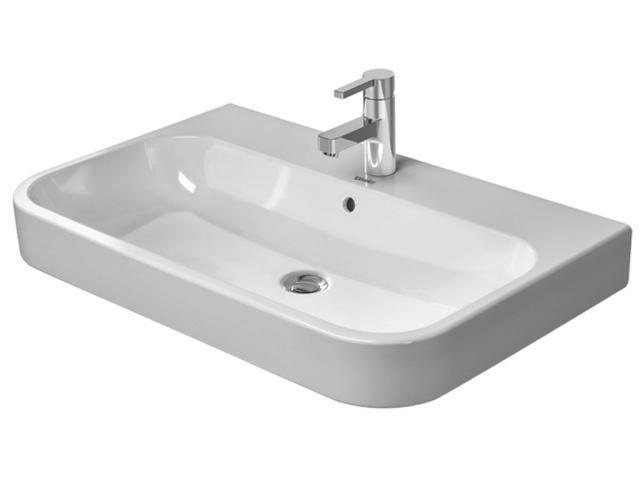 Duravit Happy D.2 Möbelwaschtisch B:80xT:50,5cm 3 Hahnlöcher mit Überlauf weiß mit Wondergliss 23188000301