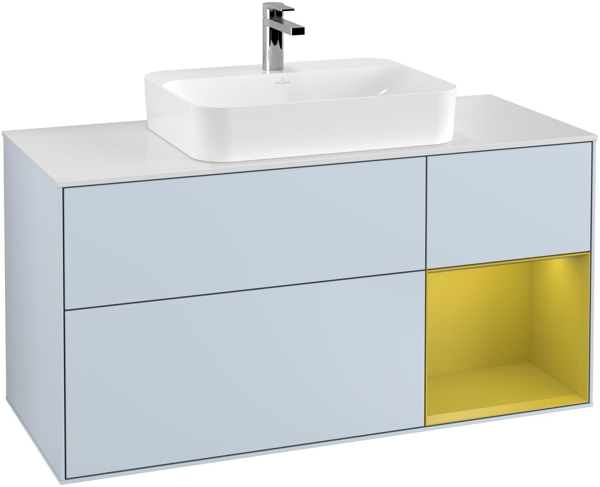 Villeroy & Boch Finion G42 Waschtischunterschrank mit Regalelement 3 Auszüge Waschtisch mittig LED-Beleuchtung B:120xH:60,3xT:50,1cm Front, Korpus: Cloud, Regal: Sun, Glasplatte: White Matt G421HEHA