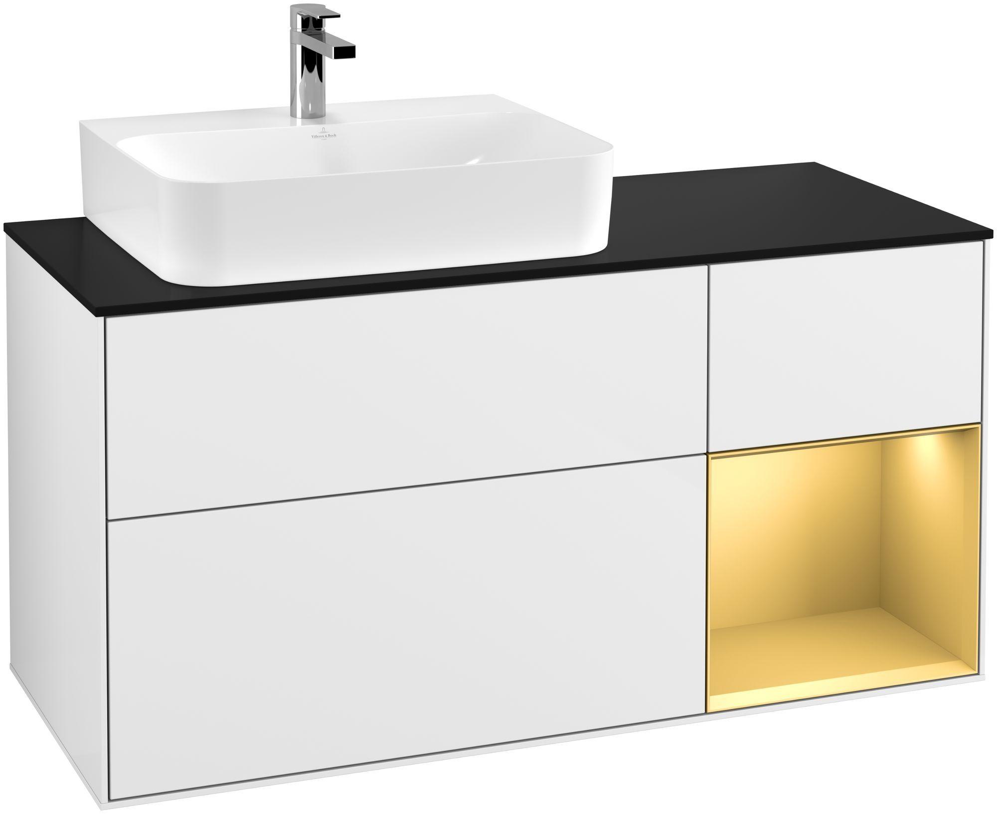 Villeroy & Boch Finion F15 Waschtischunterschrank mit Regalelement 3 Auszüge Waschtisch links LED-Beleuchtung B:120xH:60,3xT:50,1cm Front, Korpus: Glossy White Lack, Regal: Gold Matt, Glasplatte: Black Matt F152HFGF