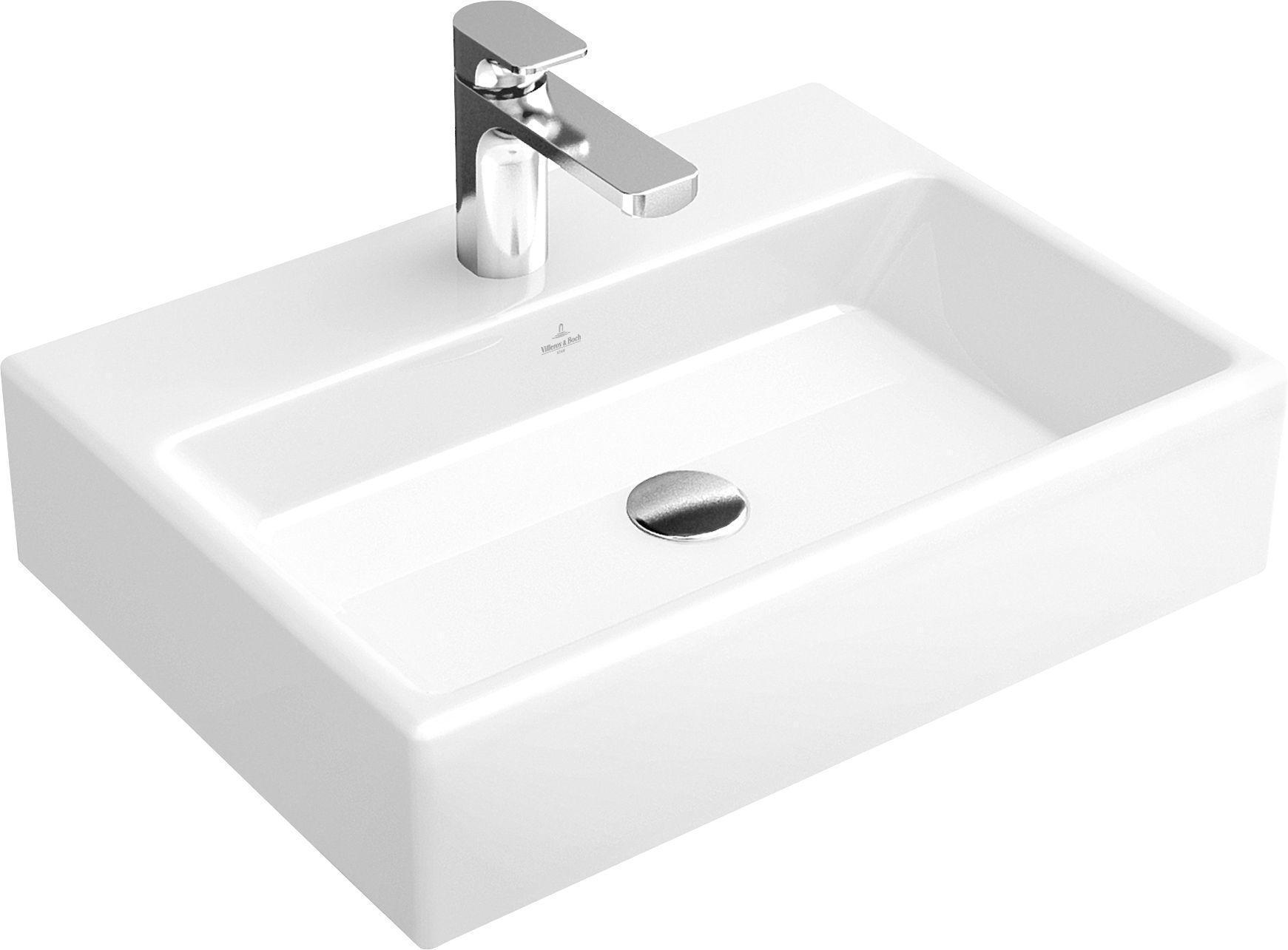 Villeroy & Boch Memento Waschtisch B:60xT:42cm 1 Hahnloch ohne Überlauf weiß mit Ceramicplus 51336GR1