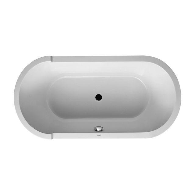 Duravit Starck Badewanne L:160xB:80 cm oval freistehend mit einer Rückenschräge mit Acrylverkleidung und Gestell weiß 700409000000000