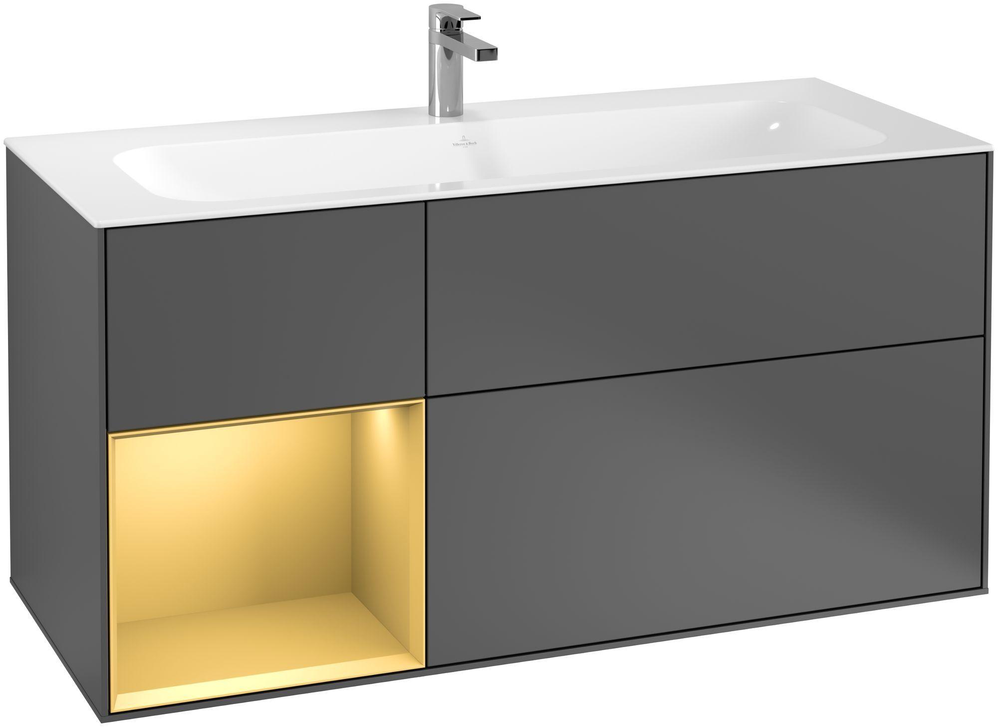 Villeroy & Boch Finion G06 Waschtischunterschrank mit Regalelement 3 Auszüge LED-Beleuchtung B:119,6xH:59,1xT:49,8cm Front, Korpus: Anthracite Matt, Regal: Gold Matt G060HFGK