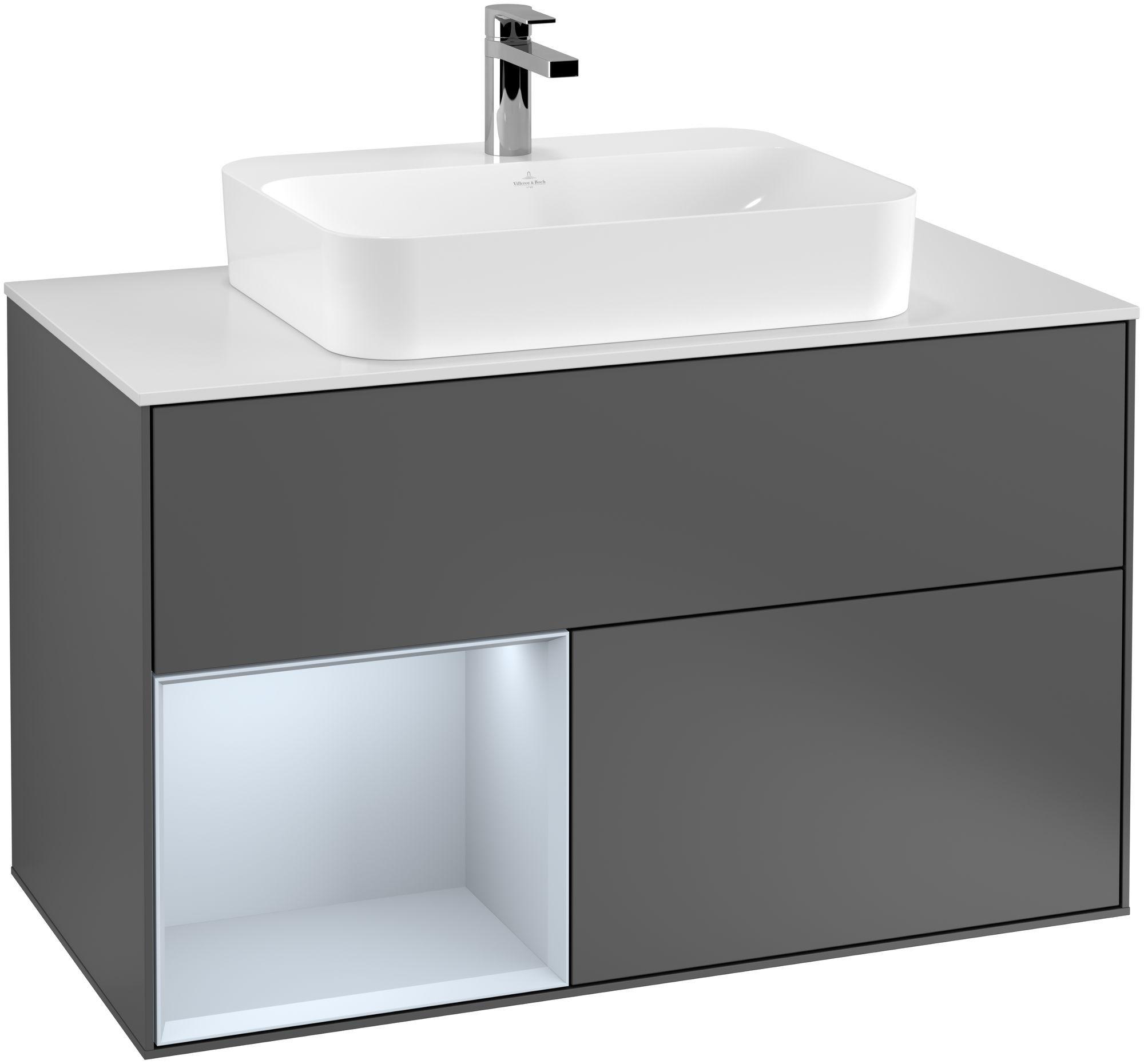 Villeroy & Boch Finion G36 Waschtischunterschrank mit Regalelement 2 Auszüge für WT mittig LED-Beleuchtung B:100xH:60,3xT:50,1cm Front, Korpus: Anthracite Matt, Regal: Cloud, Glasplatte: White Matt G361HAGK