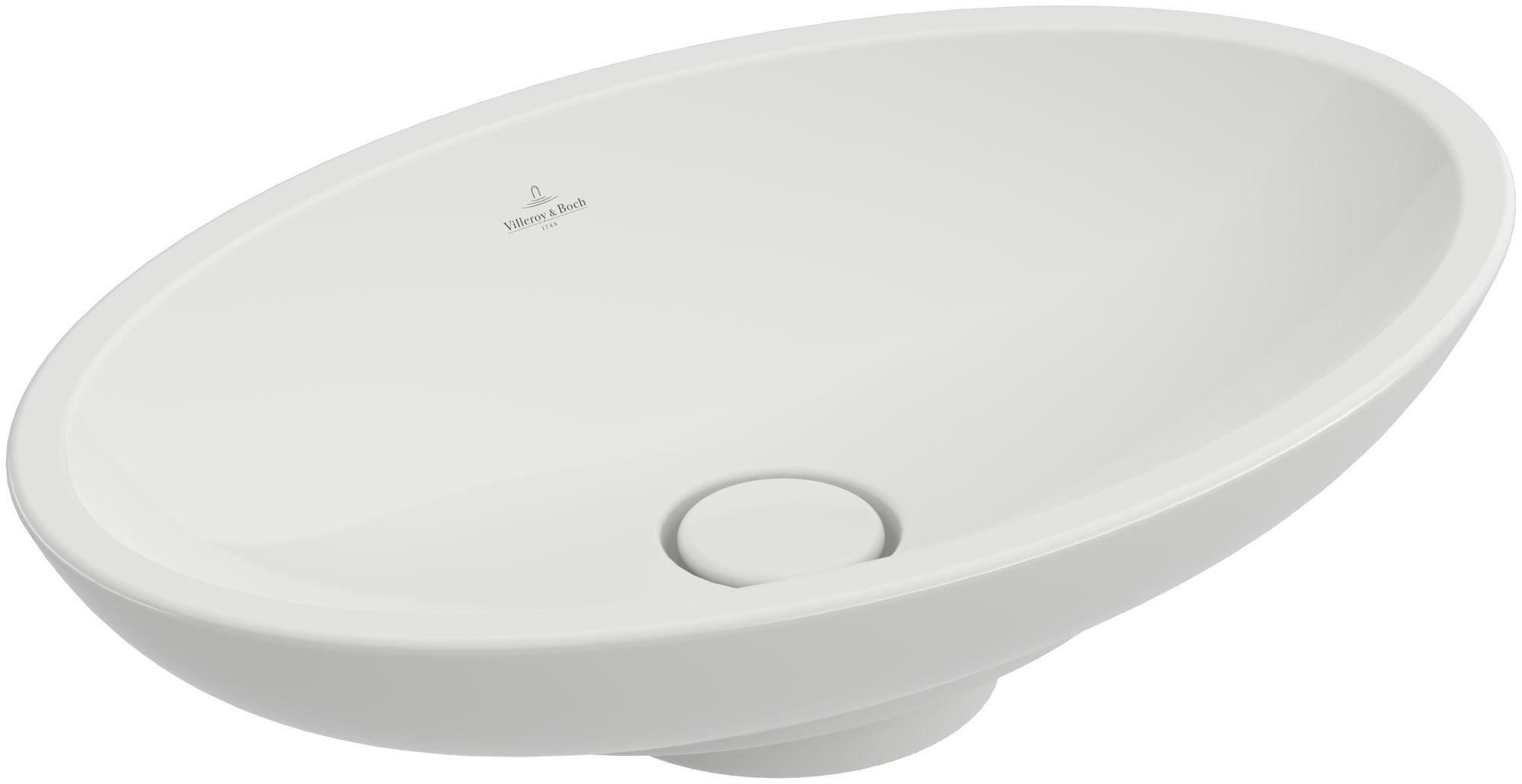 Villeroy & Boch Loop & Friends Aufsatzwaschtisch oval B:58,5xT:38xH:11cm ohne Hahnloch ohne Überlauf weiß mit Ceramicplus 515101R1