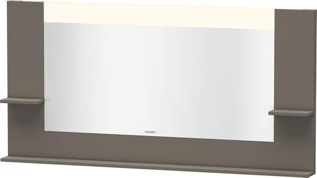 Duravit Vero Spiegel mit LED-Beleuchtung B:160xH:80xT:14,2cm mit Ablagen rechts links und unten flannel grey seidenmatt VE735409090