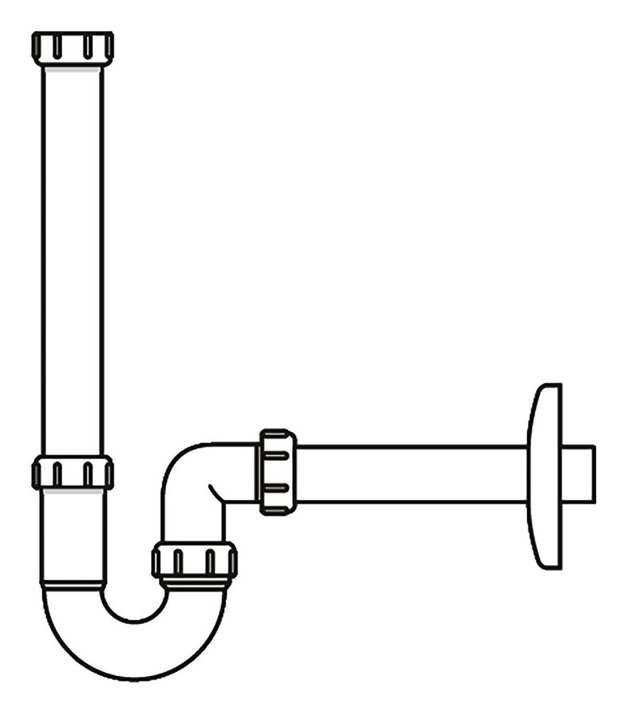 Laufen Alessi One Siphon D 32 mit verlängertem Ablaufrohr weiß H8940670000001