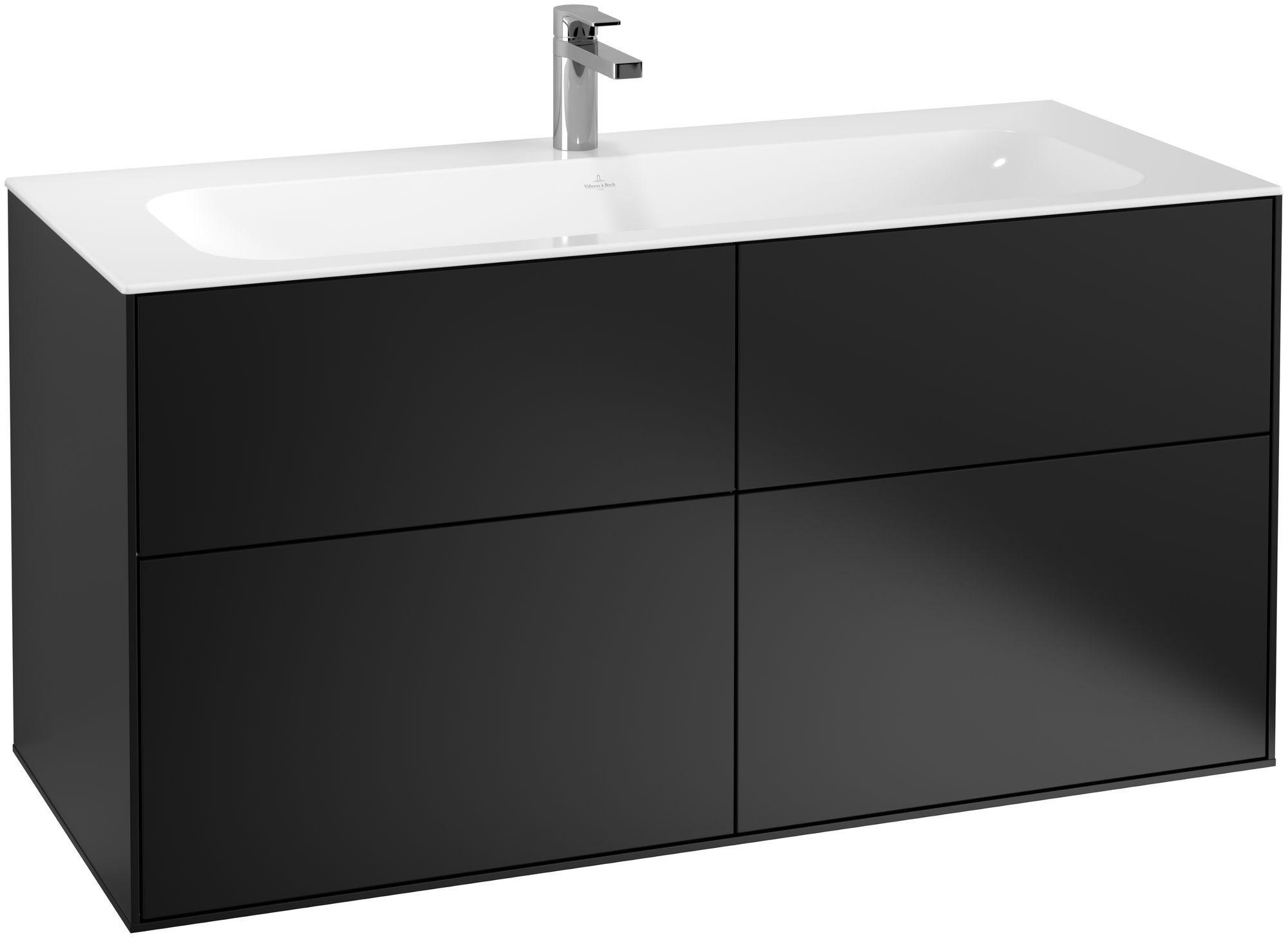 Villeroy & Boch Finion F05 Waschtischunterschrank 4 Auszüge B:119,6xH:59,1xT:49,8cm Front, Korpus: Black Matt Lacquer F05000PD