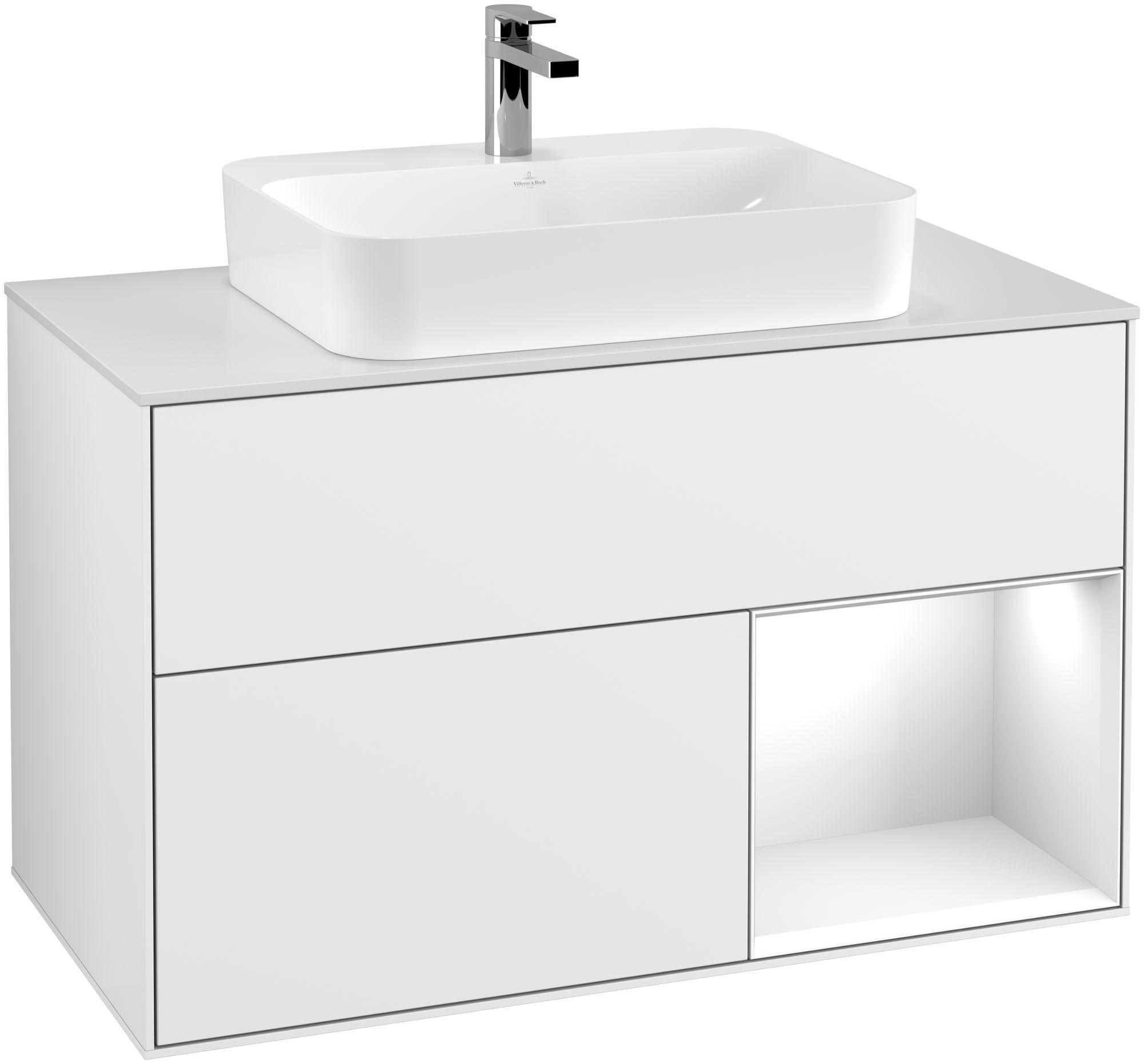 Villeroy & Boch Finion F37 Waschtischunterschrank mit Regalelement 2 Auszüge Waschtisch mittig LED-Beleuchtung B:100xH:60,3xT:50,1cm Front, Korpus: Glossy White Lack, Glasplatte: White Matt F371GFGF