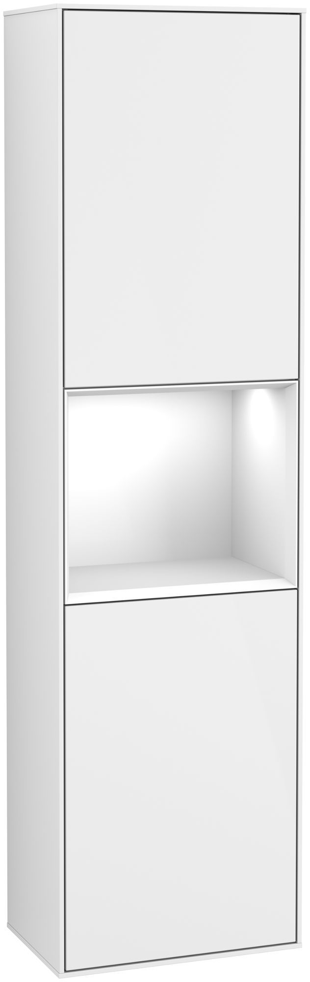 Villeroy & Boch Finion F47 Hochschrank mit Regalelement 2 Türen Anschlag rechts LED-Beleuchtung B:41,8xH:151,6xT:27cm Front, Korpus: Glossy White Lack F470GFGF