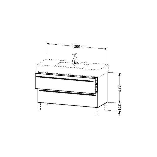 Duravit X-Large Waschtischunterschrank wandhängend B:120xH:58,8xT:47 cm mit 2 Auszügen pine terra XL654505151