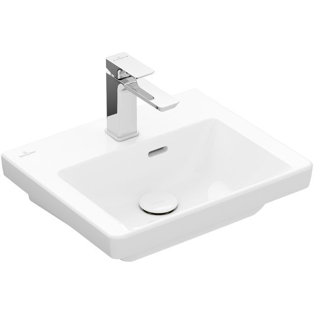 Villeroy & Boch Subway 3.0 Handwaschbecken 45x37cm rechteckig 1 Hahnloch mit Überlauf Weiß mit CeramicPlus 4370FKR1