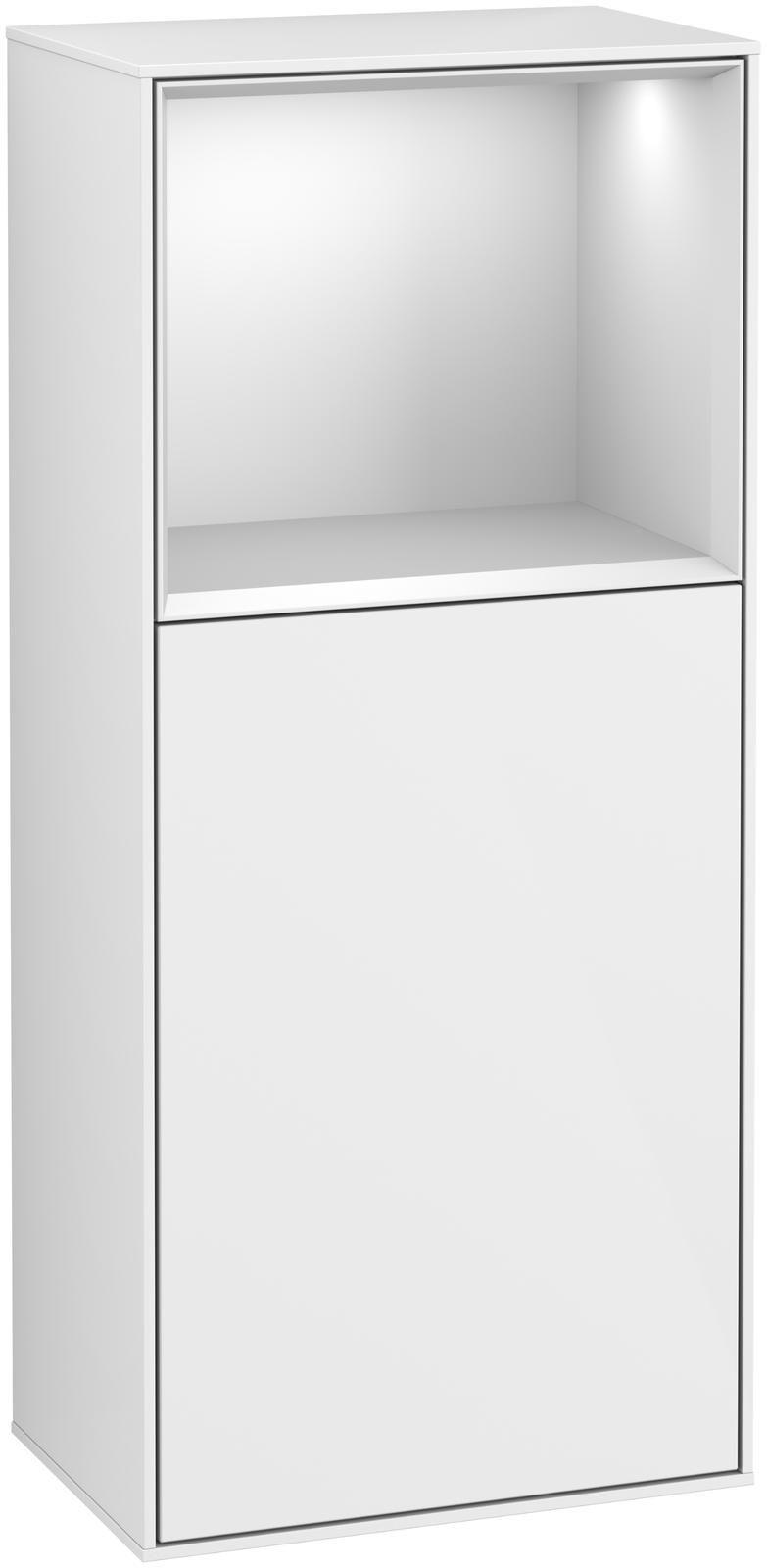 Villeroy & Boch Finion F51 Seitenschrank mit Regalelement 1 Tür Anschlag rechts LED-Beleuchtung B:41,8xH:93,6xT:27cm Front, Korpus: Glossy White Lack, Regal: Weiß Matt Soft Grey F510MTGF