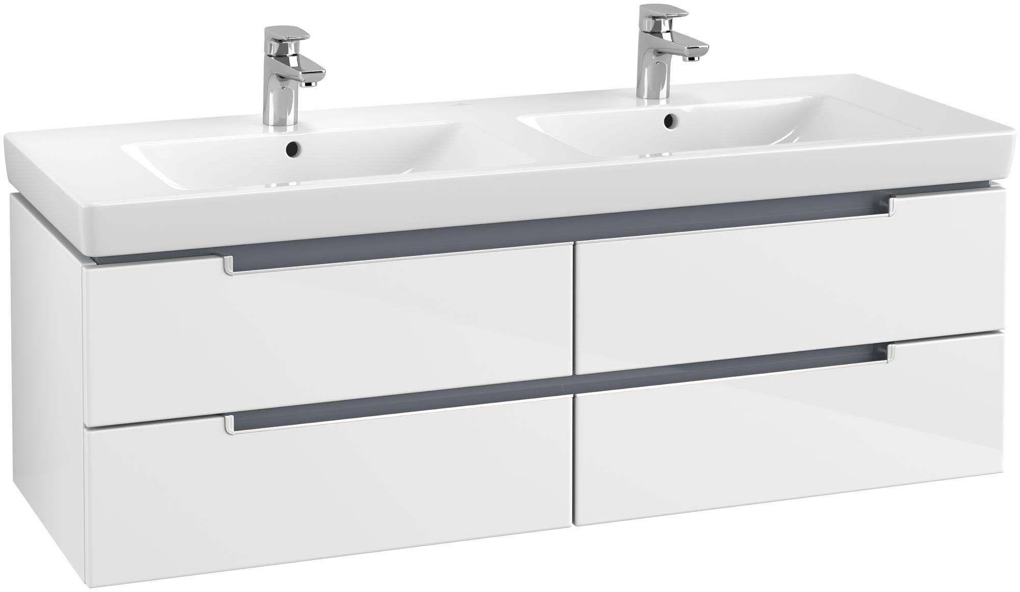 Villeroy & Boch Subway 2.0 Waschtischunterschrank 4 Auszüge B:1287xT:449xH:420mm glossy weiß Griffe silberfarbig matt A69200DH