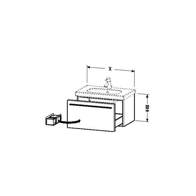 Duravit X-Large Waschtischunterschrank wandhängend B:80xH:44,8xT:45,8 cm mit 1 Auszug eiche dunkel gebürstet XL604807272