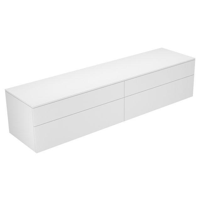 Keuco Edition 400 Sideboard wandhängend 4 Frontauszüge 2100 x 472 x 535 mm trüffel/Glas trüffel klar 31773140000