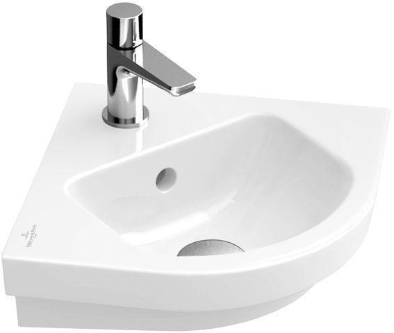 Villeroy & Boch Subway 2.0 Eck-Handwaschbecken B:32xT:32cm 1 Hahnloch mit Überlauf weiß 73194501