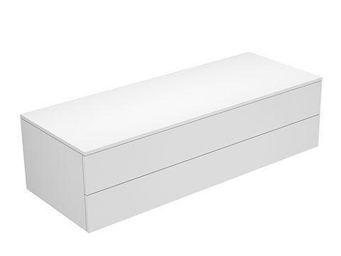Keuco Edition 400 Sideboard wandhängend 2 Frontauszüge 1400 x 382 x 535 mm weiß/Glas titan klar 31762760000