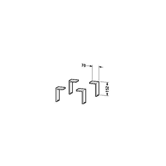 Duravit Sockelfuß Universal 65x70x152mm 4 Stück aluminium matt UV999200000