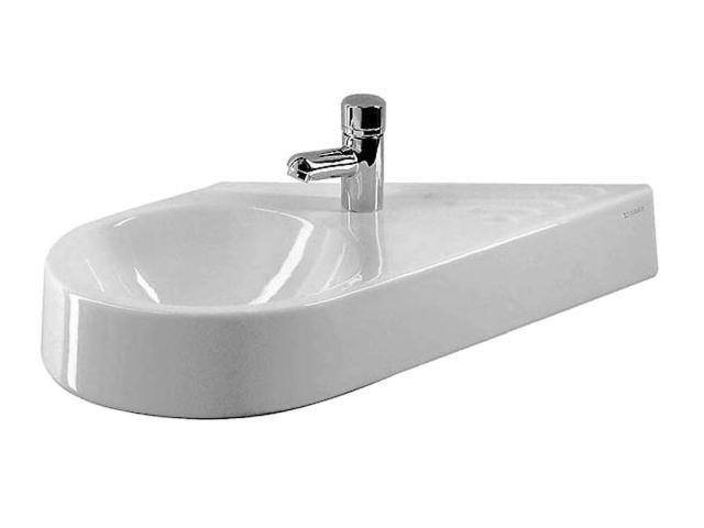Duravit Architec Handwaschbecken B:64,5xT:41cm 1 Hahnloch rechts ohne Überlauf Becken links weiß 0764650000