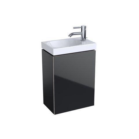 Geberit Keramag Acanto Handwaschbecken-Unterschrank B:39,6 x H:53,4 x T:24,6 cm Korpus: Schwarz matt Front Glas schwarz 500607161