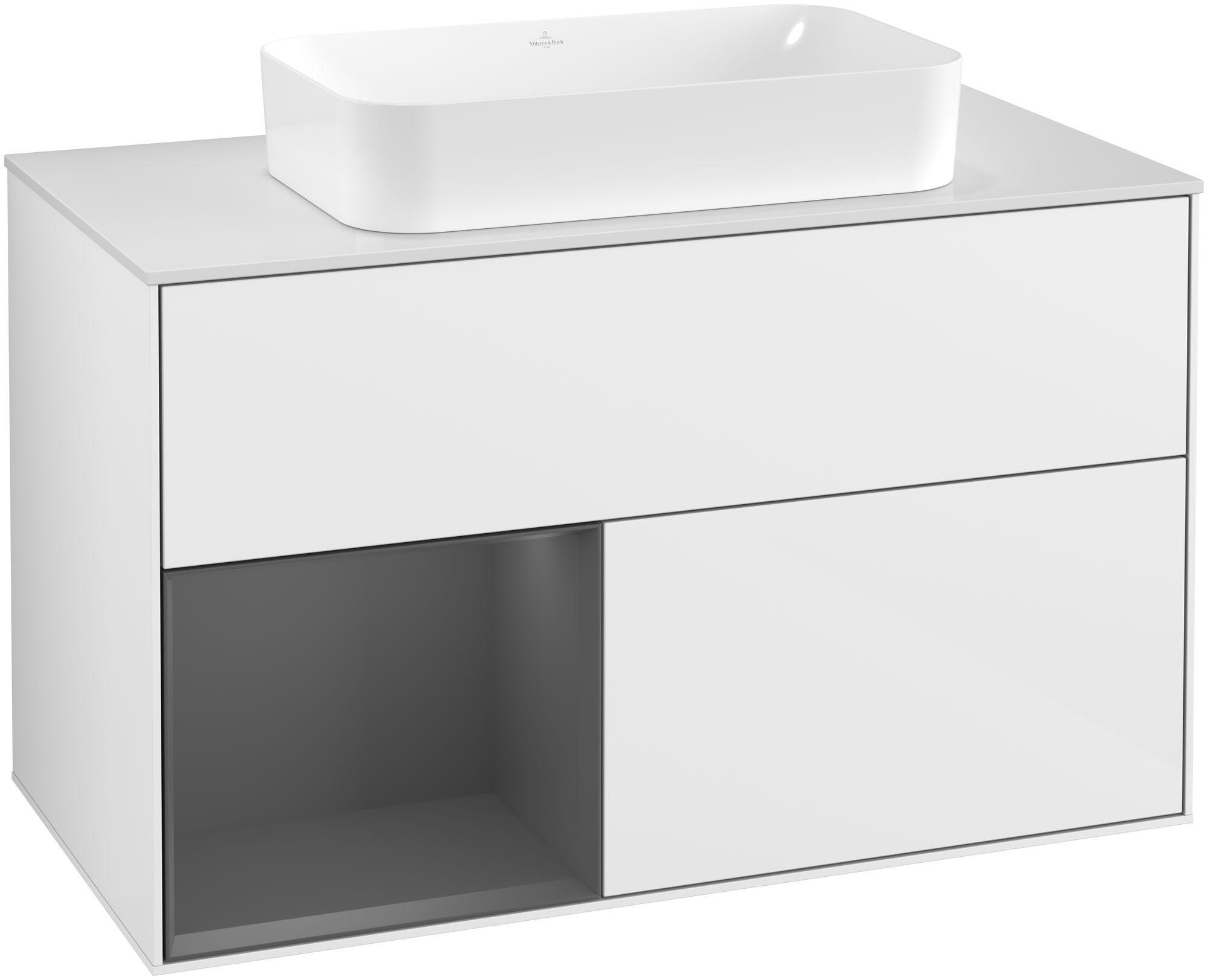 Villeroy & Boch Finion G24 Waschtischunterschrank mit Regalelement 2 Auszüge für WT mittig LED-Beleuchtung B:100xH:60,3xT:50,1cm Front, Korpus: Glossy White Lack, Regal: Anthracite Matt, Glasplatte: White Matt G241GKGF