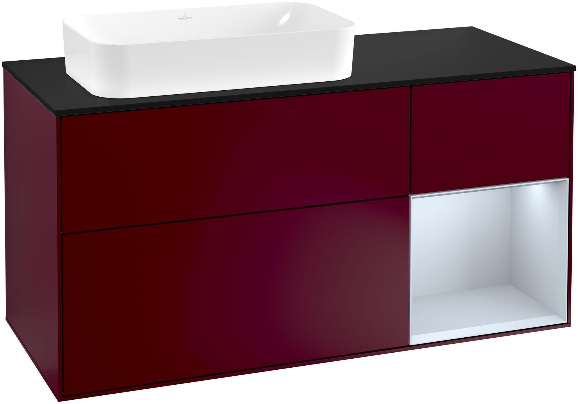 Villeroy & Boch Finion F28 Waschtischunterschrank mit Regalelement 3 Auszüge Waschtisch links LED-Beleuchtung B:120xH:60,3xT:50,1cm Front, Korpus: Peony, Regal: Cloud, Glasplatte: Black Matt F282HAHB