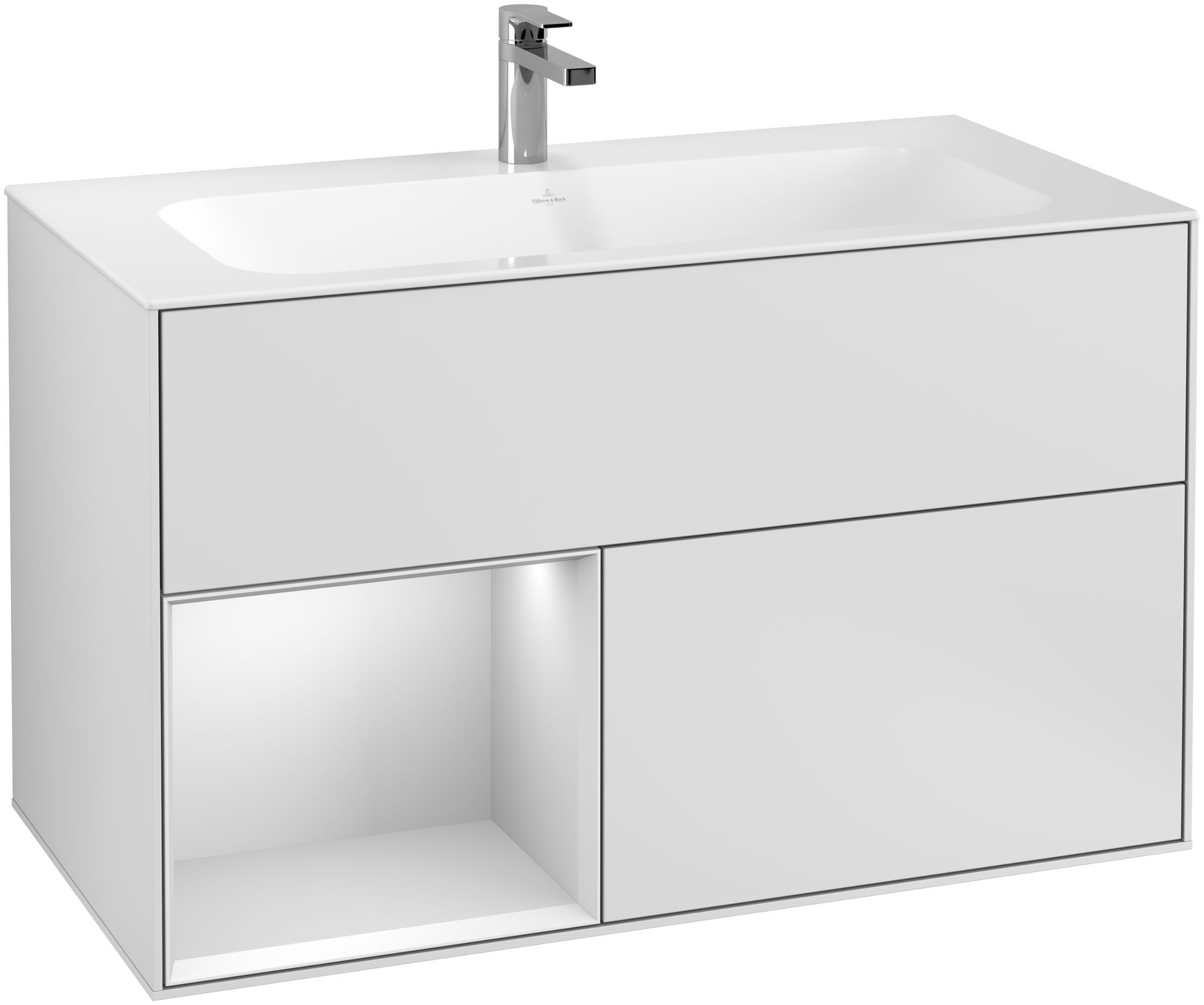 Villeroy & Boch Finion G03 Waschtischunterschrank mit Regalelement 2 Auszüge LED-Beleuchtung B:99,6xH:59,1xT:49,8cm Front, Korpus: Weiß Matt Soft Grey G030MTMT