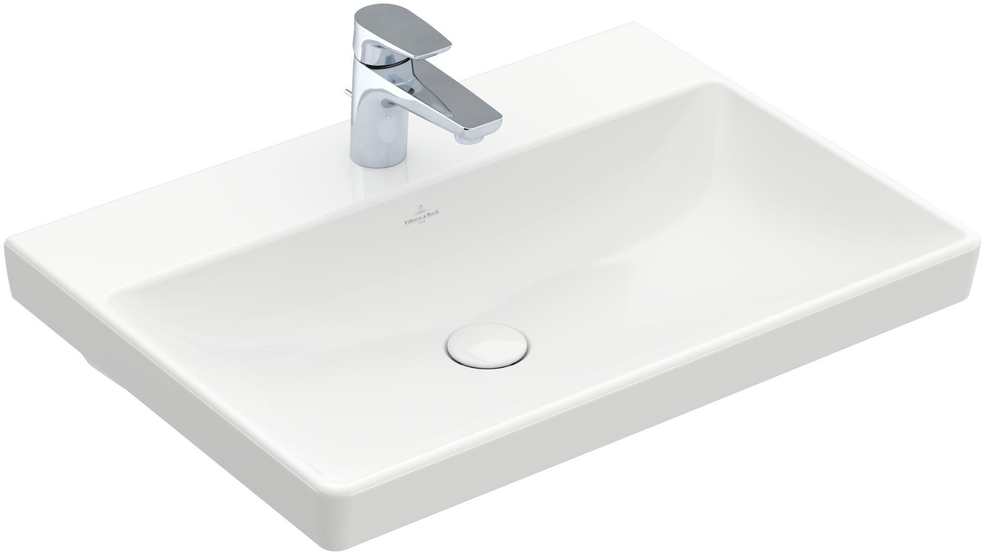 Villeroy & Boch Avento Waschtisch B:65xT:47cm 1 Hahnloch ohne Überlauf weiß mit CeramicPlus 415866R1