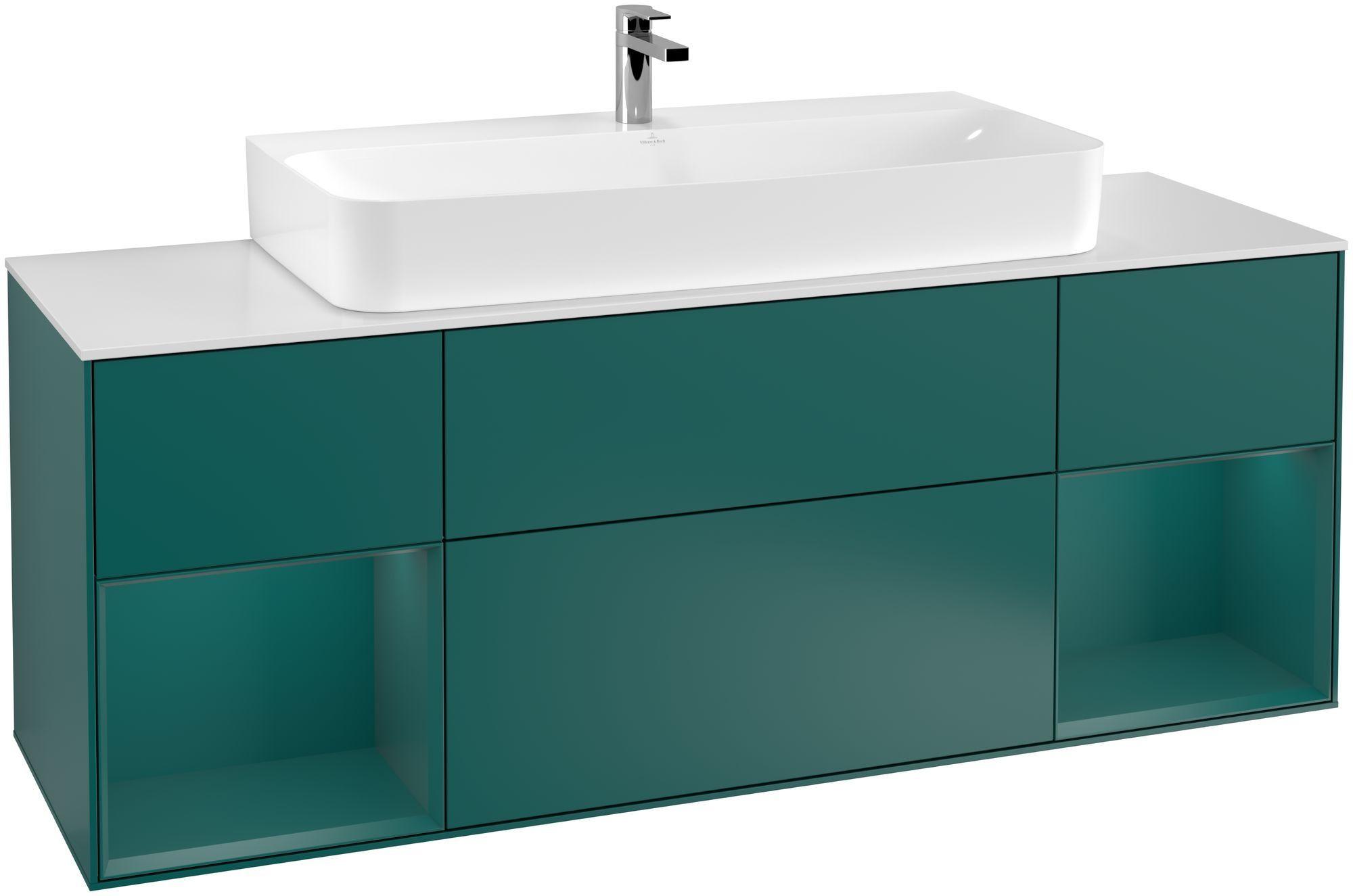 Villeroy & Boch Finion G21 Waschtischunterschrank mit Regalelement 4 Auszüge Waschtisch mittig LED-Beleuchtung B:160xH:60,3xT:50,1cm Front, Korpus: Cedar, Glasplatte: White Matt G211GSGS