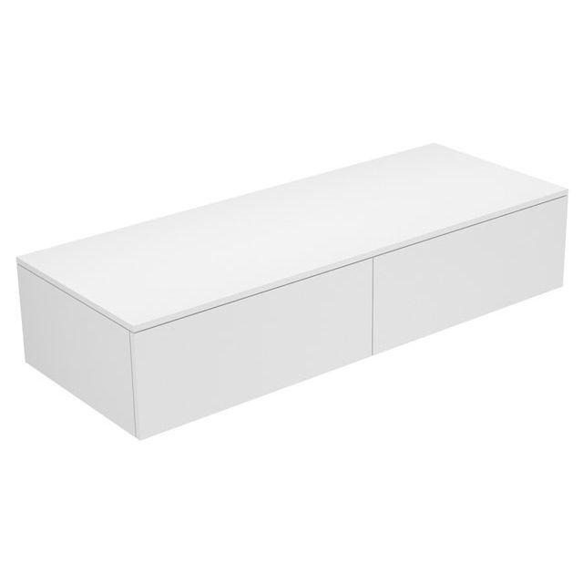 Keuco Edition 400 Sideboard wandhängend 2 Frontauszüge 1400 x 289 x 535 mm trüffel/Glas trüffel klar 31765140000
