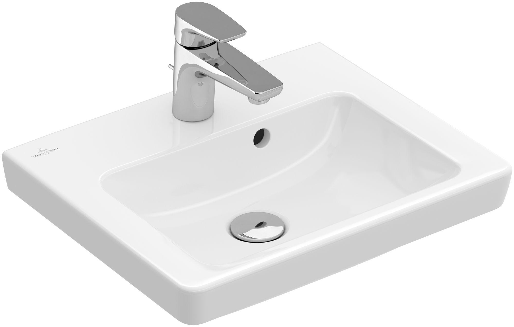 Villeroy & Boch Subway 2.0 Handwaschbecken B:45xT:37cm 1 Hahnloch mit Überlauf weiß 7315F501