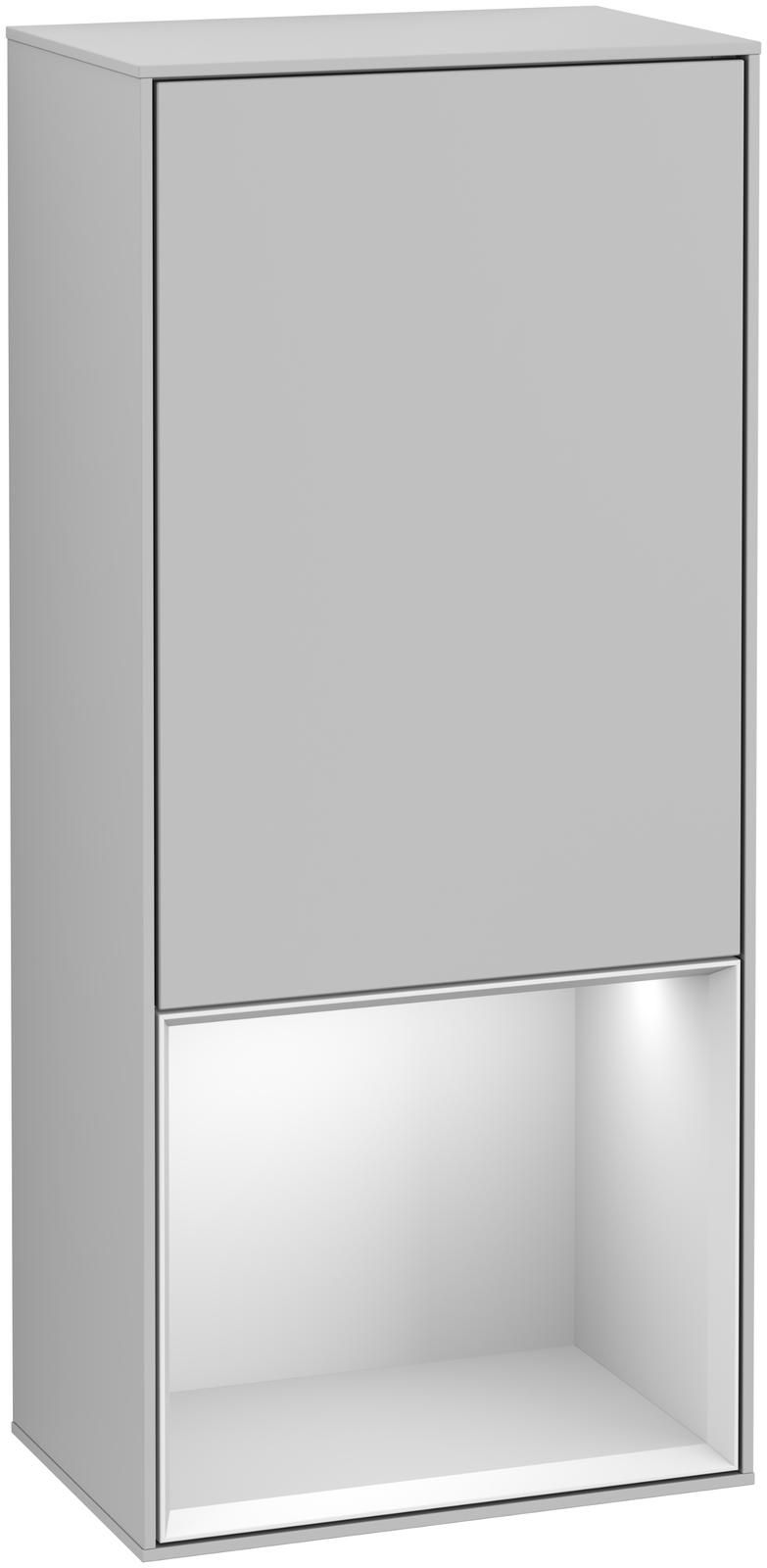 Villeroy & Boch Finion F55 Seitenschrank mit Regalelement 1 Tür Anschlag rechts LED-Beleuchtung B:41,8xH:93,6xT:27cm Front, Korpus: Light Grey Matt, Regal: Weiß Matt Soft Grey F550MTGJ