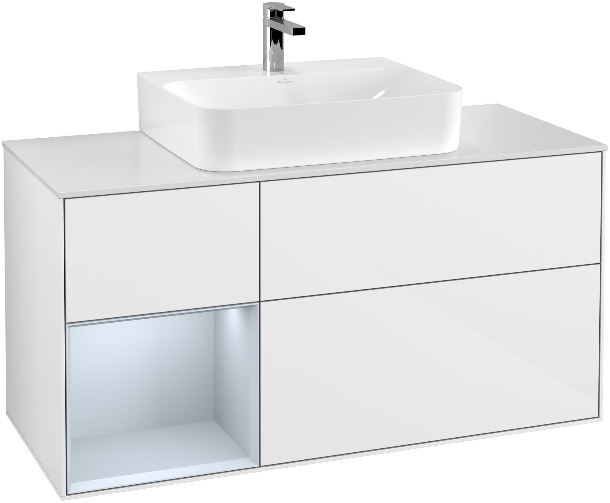 Villeroy & Boch Finion F16 Waschtischunterschrank mit Regalelement 3 Auszüge Waschtisch mittig LED-Beleuchtung B:120xH:60,3xT:50,1cm Front, Korpus: Glossy White Lack, Regal: Cloud, Glasplatte: White Matt F161HAGF
